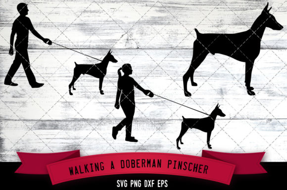 Download Free Walking A Doberman Pinscher Dog Silhouet Grafico Por for Cricut Explore, Silhouette and other cutting machines.