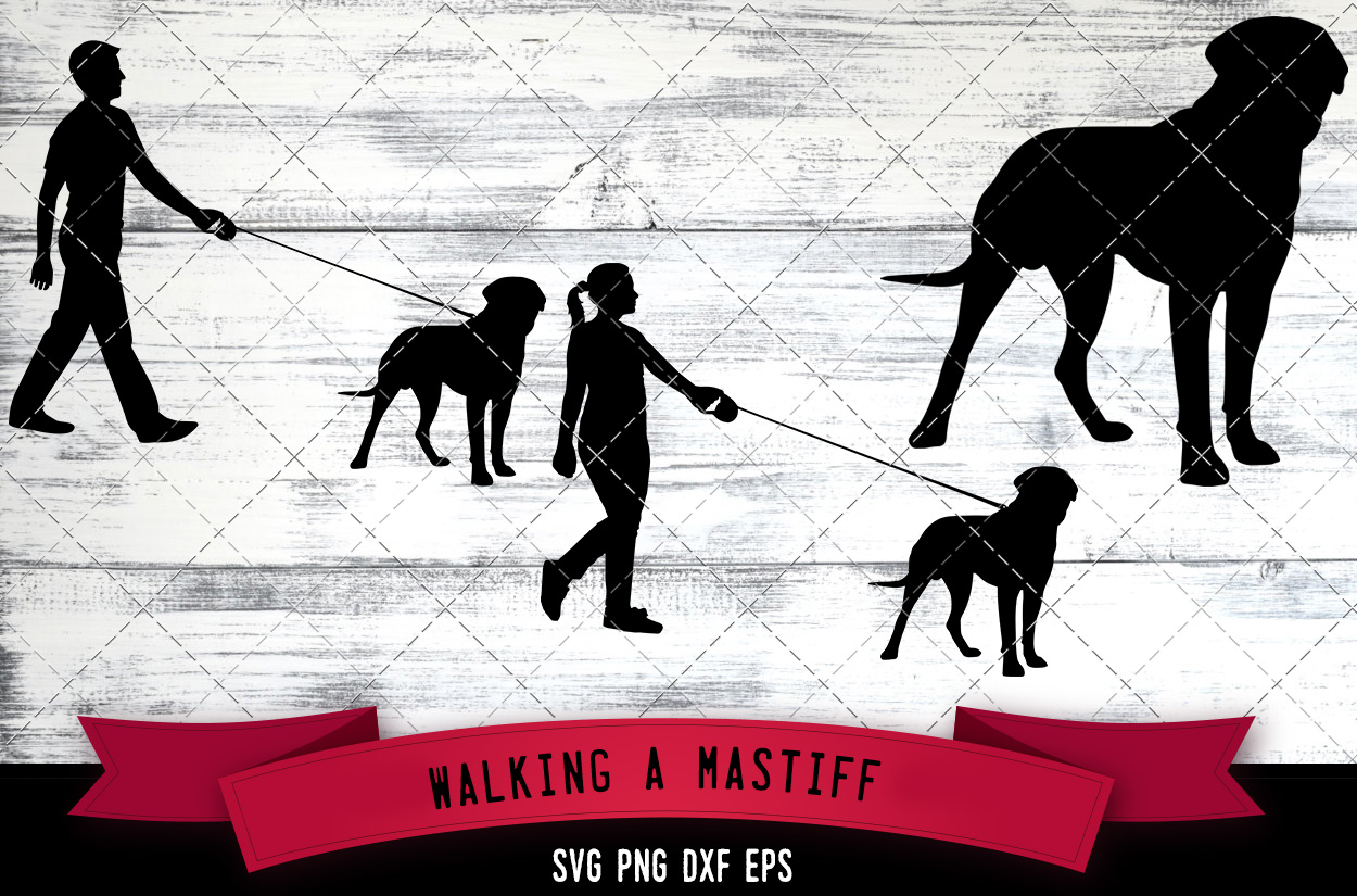 Download Free Walking A Mastiff Dog Silhouette Vector Graphic By for Cricut Explore, Silhouette and other cutting machines.