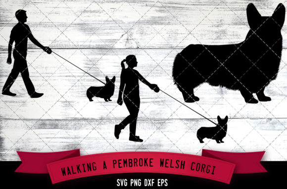 Walking a Pembroke Welsh Corgi Dog Graphic Crafts By thesilhouettequeenshop
