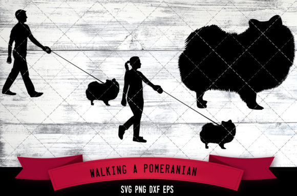Download Free Walking A Pomeranian Dog Silhouette Graphic By for Cricut Explore, Silhouette and other cutting machines.