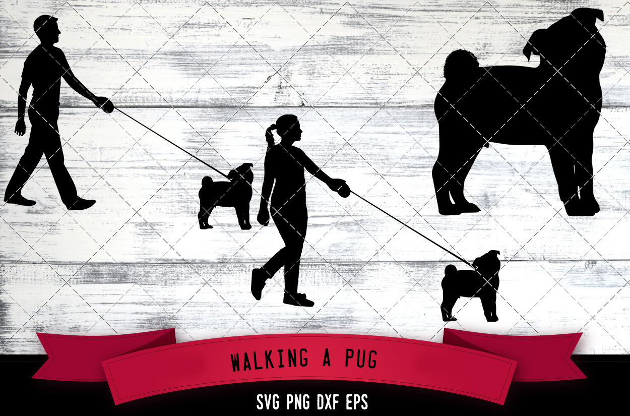 Download Free Walking A Pug Dog Silhouette Vector Graphic By for Cricut Explore, Silhouette and other cutting machines.