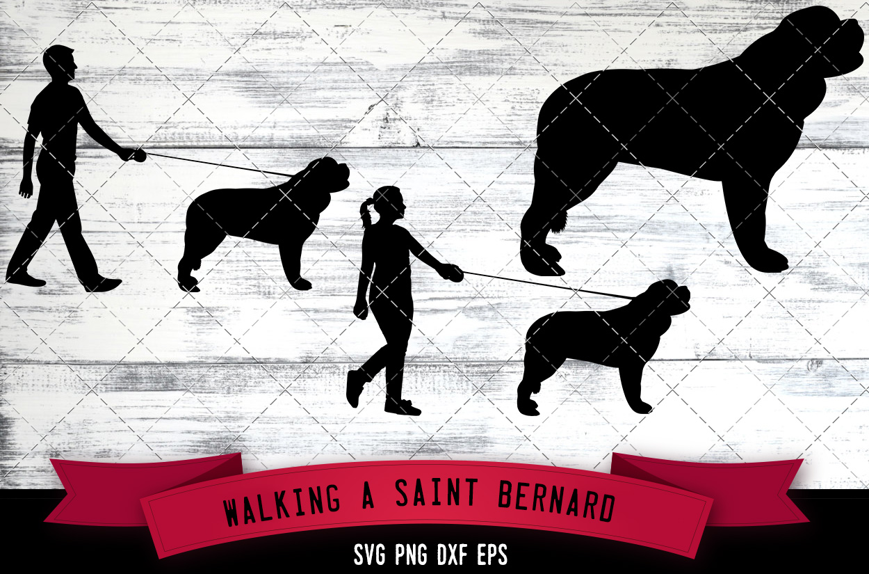 Download Free Walking A Saint Bernard Dog Silhouette V Graphic By for Cricut Explore, Silhouette and other cutting machines.