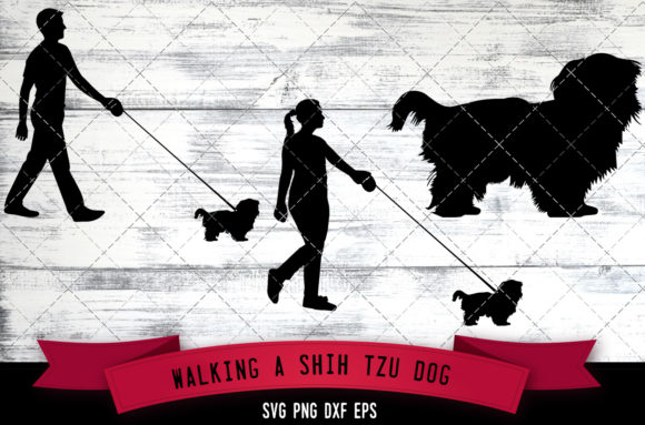 Download Free Walking A Shih Tzu Dog Silhouette Vecto Graphic By for Cricut Explore, Silhouette and other cutting machines.