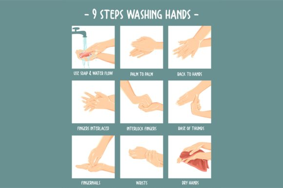 Print on Demand: Washing Hand Step Infographic Graphic Illustrations By geadesign