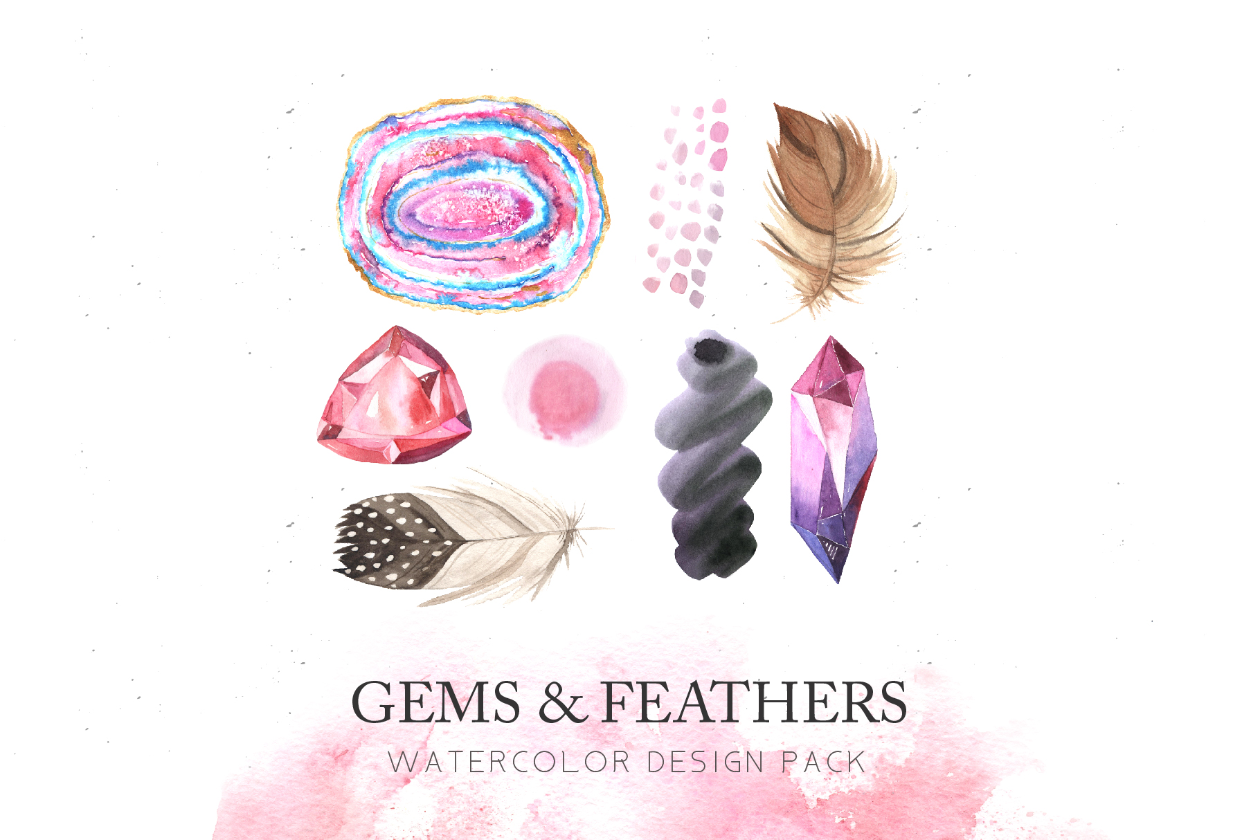Download Free Watercolor Gems Feathers Set Graphic By Larysa Zabrotskaya for Cricut Explore, Silhouette and other cutting machines.