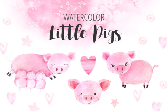 Watercolor Little Pigs Set Graphic Illustrations By Larysa Zabrotskaya