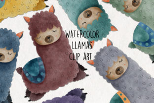 Print on Demand: Watercolor Llama Clip Art Graphic Crafts By NotturnoClipArt