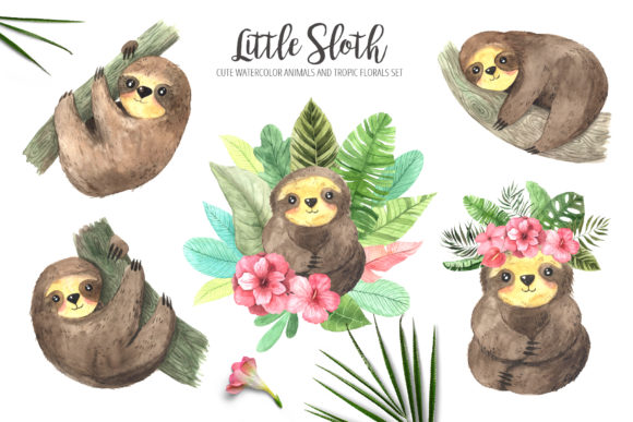 Download Free Watercolor Sloth And Tropic Florals Graphic By Larysa Zabrotskaya Creative Fabrica for Cricut Explore, Silhouette and other cutting machines.