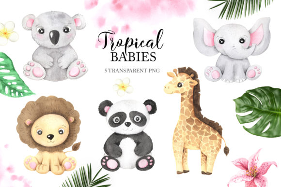 Watercolor Tropical Babies Set 1 Graphic Illustrations By Larysa Zabrotskaya - Image 2