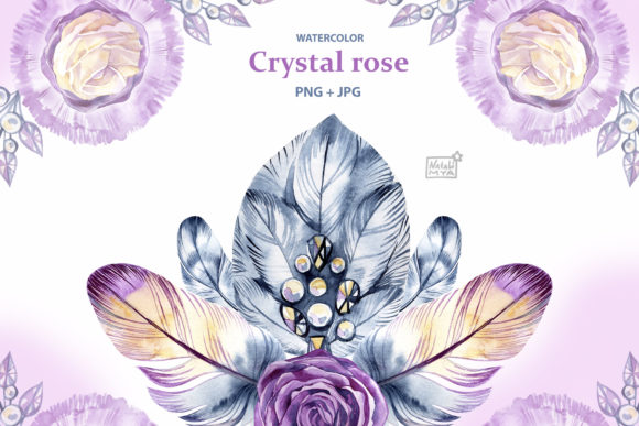 Watercolor Crystal Roses Cliparts Graphic Illustrations By NataliMyaStore - Image 1