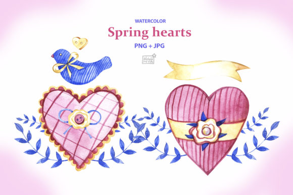 Watercolor Spring Hearts Graphic Illustrations By NataliMyaStore