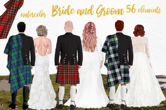 Wedding Clipart,Men in Kilts Clipart Graphic Illustrations By LeCoqDesign