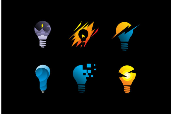 Download Free Pack Of Light Bulb Idea Logo Icon Vector Graphic By Aksa Inov008 for Cricut Explore, Silhouette and other cutting machines.
