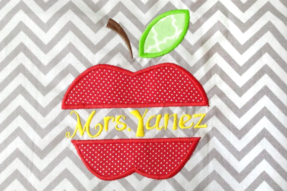 Apple Split Applique Embroidery Back to School Embroidery Design By DesignedByGeeks