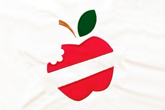 Apple with Bite Split Applique Back to School Embroidery Design By DesignedByGeeks