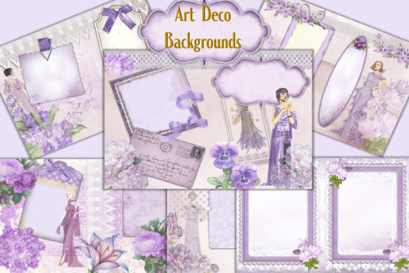 Print on Demand: Art Deco Ladies Backgrounds 6 Graphic Illustrations By The Paper Princess