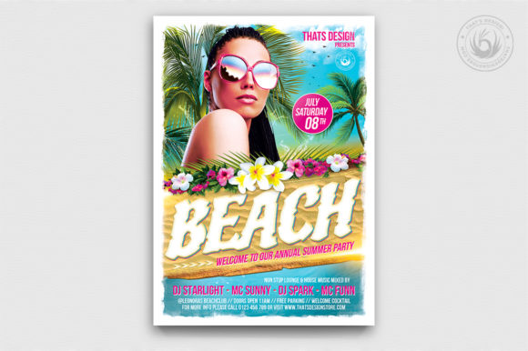 Beach Party Flyer Template V4 Graphic Print Templates By ThatsDesignStore