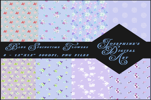 Download Free Blue Springtime Flowers Digital Paper Graphic By Josephine S SVG Cut Files