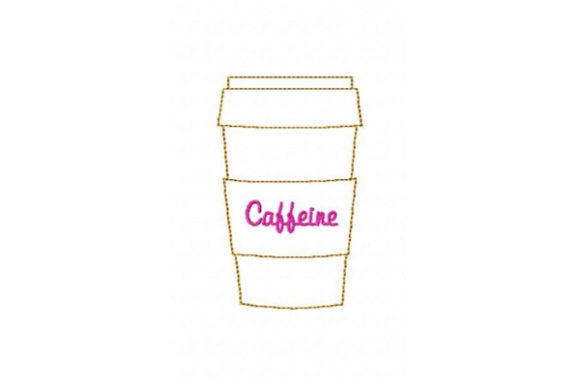 Caffeine Cup Tea & Coffee Embroidery Design By Sue O'Very Designs