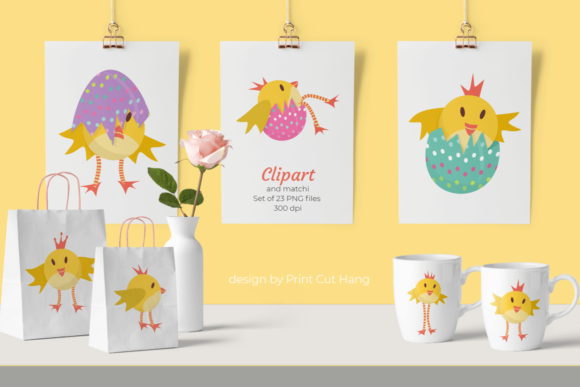 Print on Demand: Chickens Clipart and Papers - Easter Set Grafik Feiertage von print.cut.hang