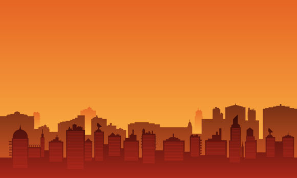 City Silhouette in the Afternoon Graphic Backgrounds By cityvector91