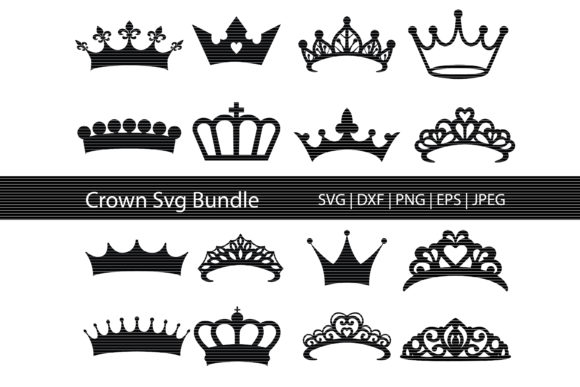 Download Free Crown Silhouette Bundle Graphic By Meshaarts Creative Fabrica for Cricut Explore, Silhouette and other cutting machines.