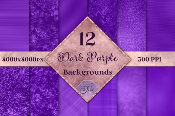 Print on Demand: Dark Purple Backgrounds - 12 Image Set Graphic Backgrounds By SapphireXDesigns