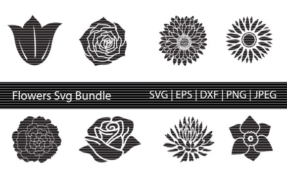 Print on Demand: Flower Silhouette Bundle Graphic Crafts By MeshaArts