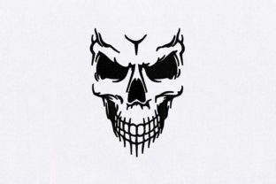 Human Skull Face Halloween Embroidery Design By DigitEMB