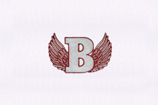 Letter B with Wings School & Education Embroidery Design By DigitEMB