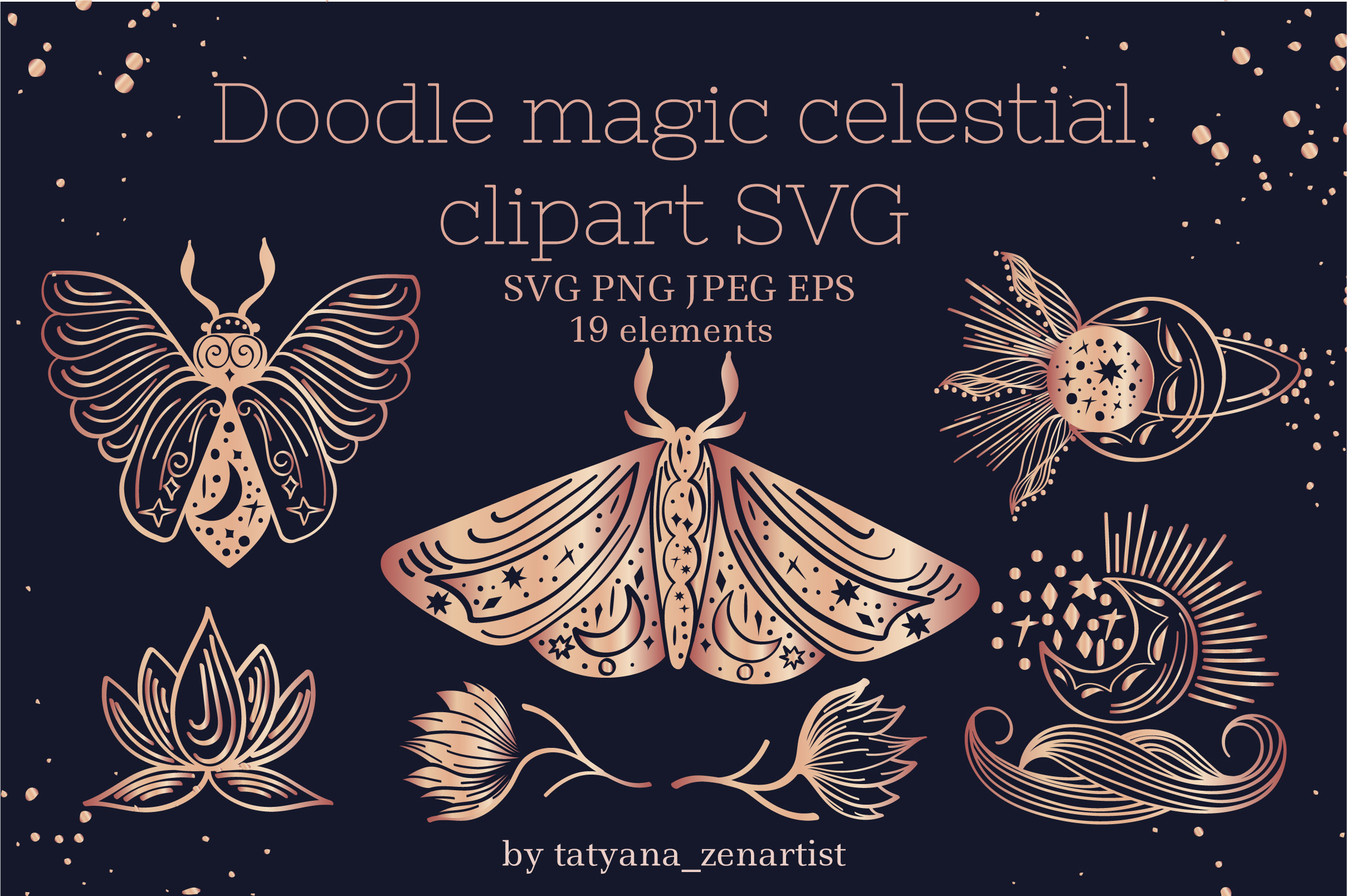 Download Free Magic Celestial Doodle Clipart Graphic By Tatyana Zenartist for Cricut Explore, Silhouette and other cutting machines.