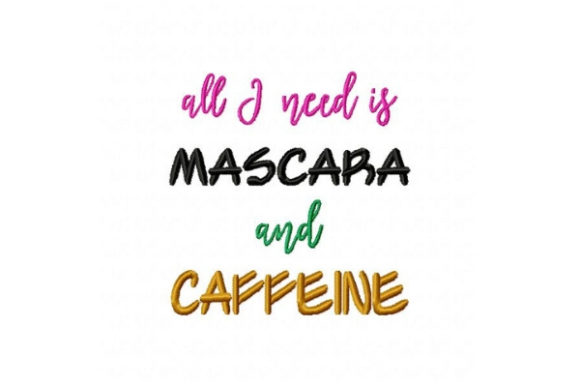 Mascara and Caffeine Tea & Coffee Embroidery Design By Sue O'Very Designs