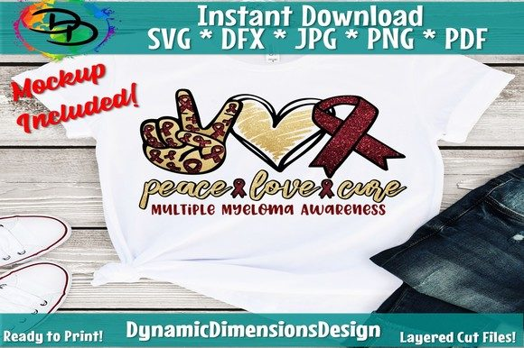 Download Free Peace Love Cure Multiple Myeloma Graphic By Dynamicdimensions SVG Cut Files