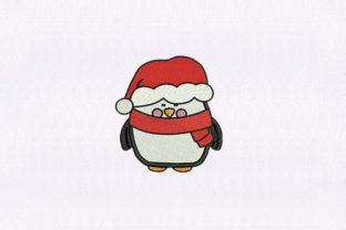 Penguin with Santa Hat Christmas Embroidery Design By DigitEMB
