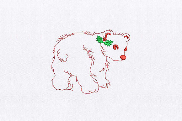 Red Bear Wild Animals Embroidery Design By DigitEMB