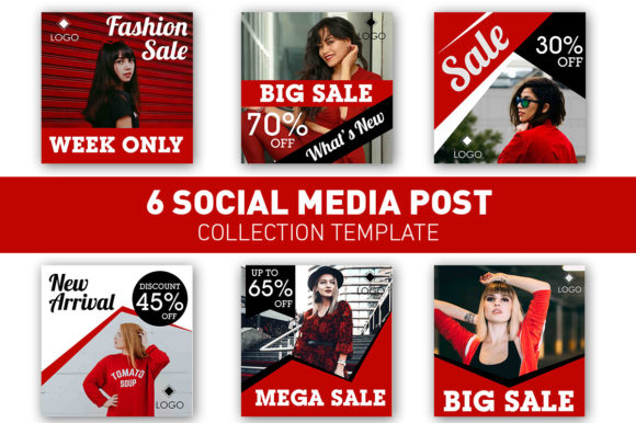 Social Media Post Red Sale Collection Graphic Web Templates By rizsl.grandokz