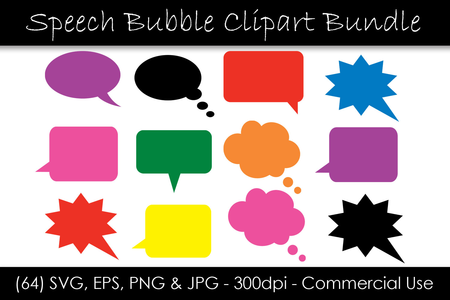 Download Free Speech Bubble Clipart Solid Colors Graphic By Gjsart for Cricut Explore, Silhouette and other cutting machines.