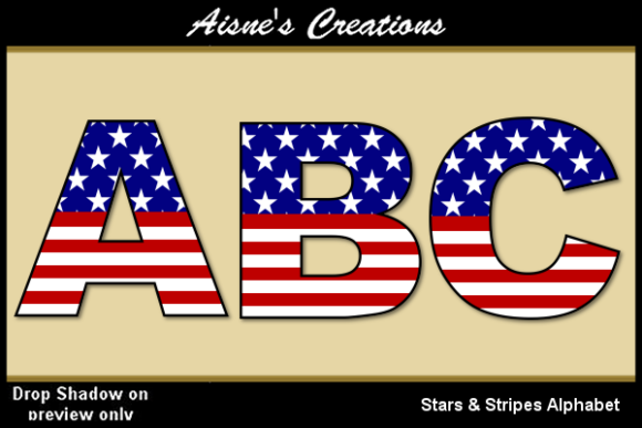 Print on Demand: Stars & Stripes Alphabet Graphic Objects By Aisne