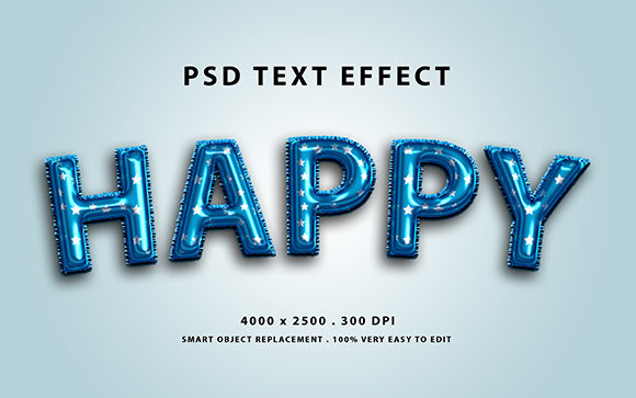 Text Effect - 3d Blue Balloon Foil Graphic Graphic Templates By Amrikhsn
