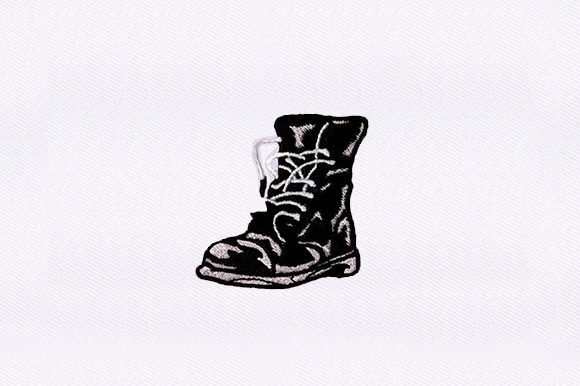Unlaced Combat Boots Military Embroidery Design By DigitEMB
