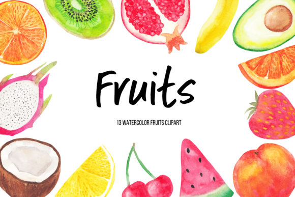 Watercolor Fruits Clipart Graphic Illustrations By BonaDesigns
