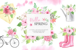 Watercolor Spring Floral Collection Graphic Illustrations By Larysa Zabrotskaya