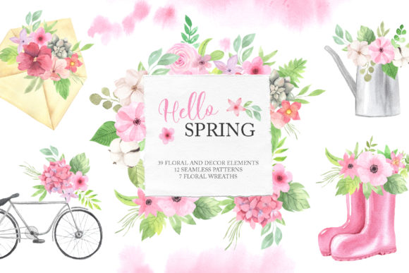 Watercolor Spring Floral Collection Gráfico Ilustraciones Por Larysa Zabrotskaya
