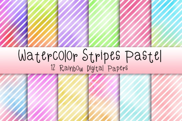 Watercolor Stripes Pastel Background Graphic Backgrounds By PinkPearly