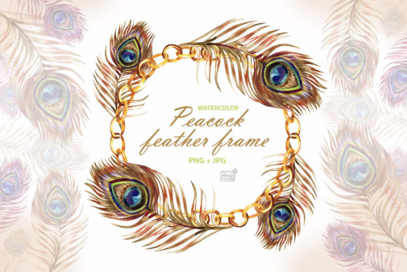 Watercolor Peacock Feather Frame Graphic Illustrations By NataliMyaStore