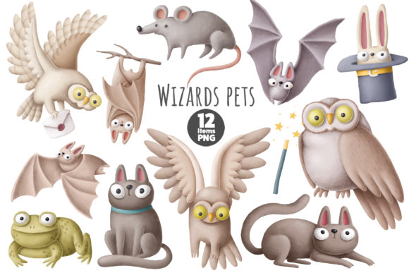 Print on Demand: Wizards Pets Graphic Illustrations By Architekt_AT