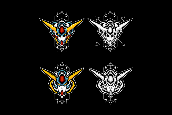 Print on Demand: Set of Four Robot Head Graphic Illustrations By depadepi