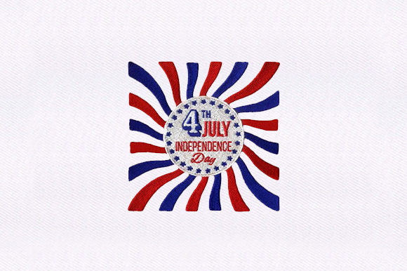 4th July Caption Independence Day Embroidery Design By DigitEMB