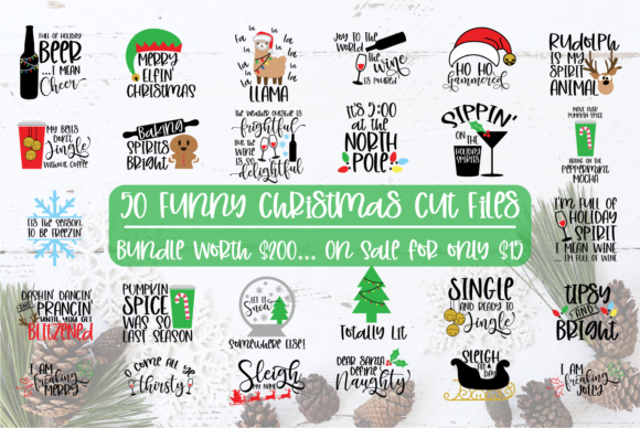 Download Free 50 Funny Christmas Files Graphic By Sheryl Holst Creative Fabrica for Cricut Explore, Silhouette and other cutting machines.