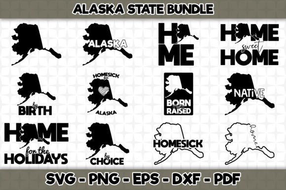Print on Demand: Alaska State Bundle - 12 Designs Graphic Crafts By SVGExpress